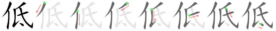 stroke order for 低