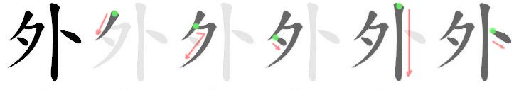 stroke order for 外