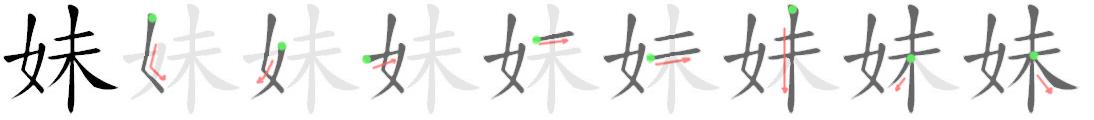 stroke order for 妹