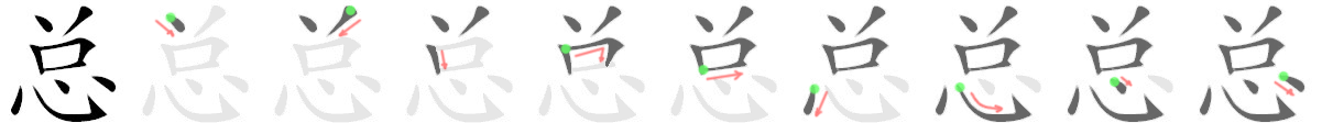 stroke order for 总