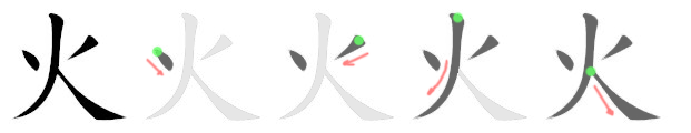 stroke order for 火