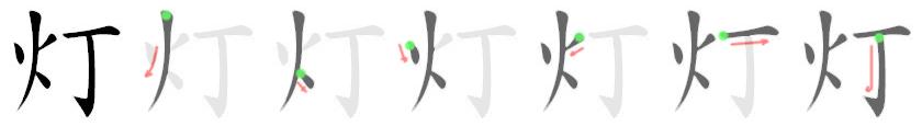 stroke order for 灯