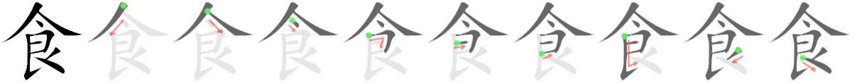stroke order for 食
